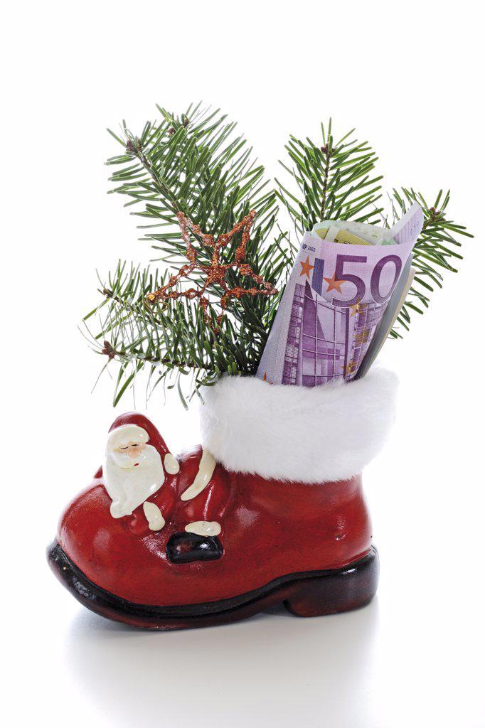 Stock Photo: 1815R-14675 Santa boot with money