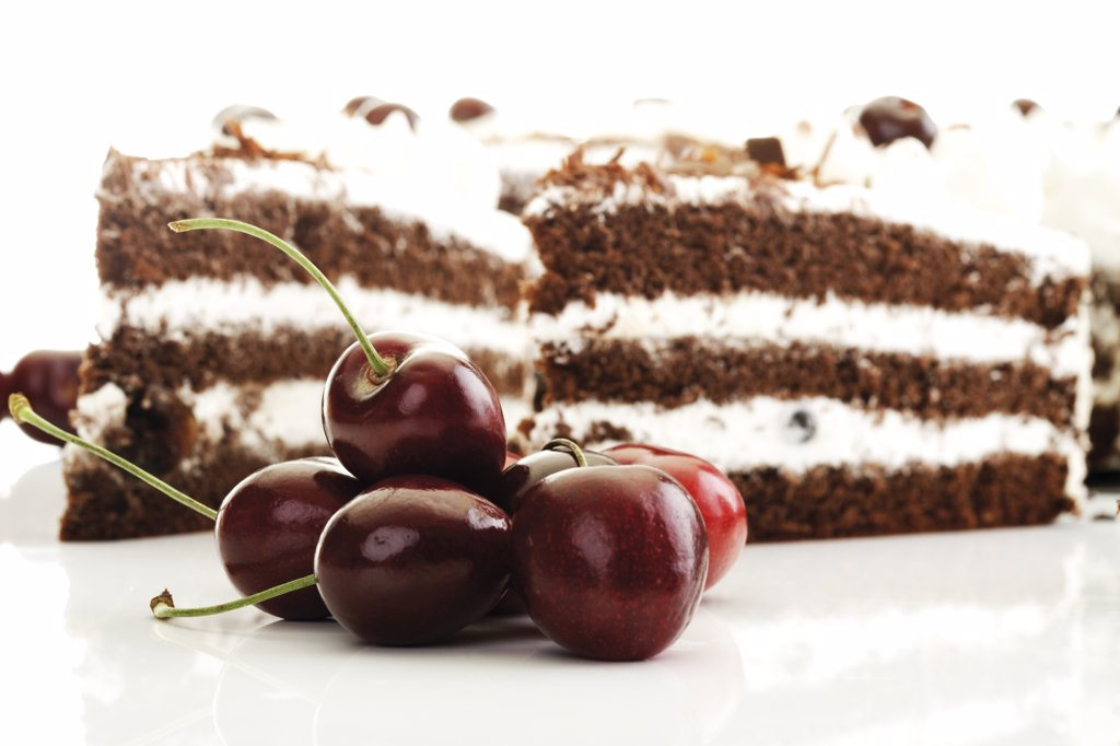 Stock Photo: 1815R-14792 Black Forest Cake and fresh cherries