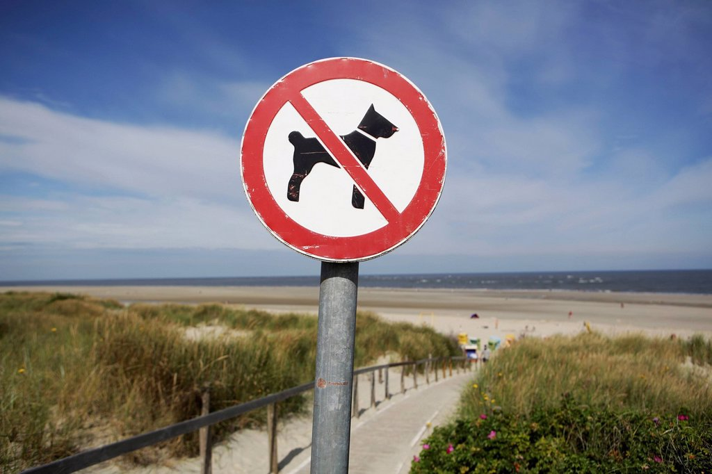 Germany, Lower Saxony, East Frisia, Langeoog, sign No dogs allowed : Stock Photo