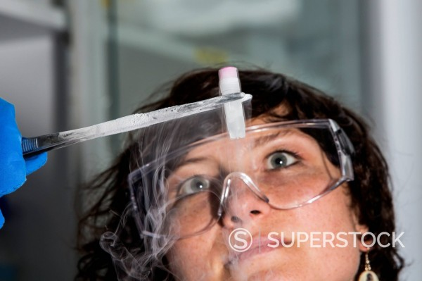 Germany, Munich, Scienist looking at frozen samples : Stock Photo