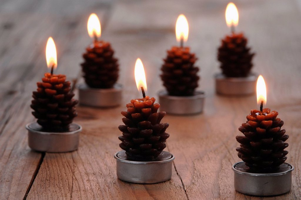 Fir cone shaped candles : Stock Photo