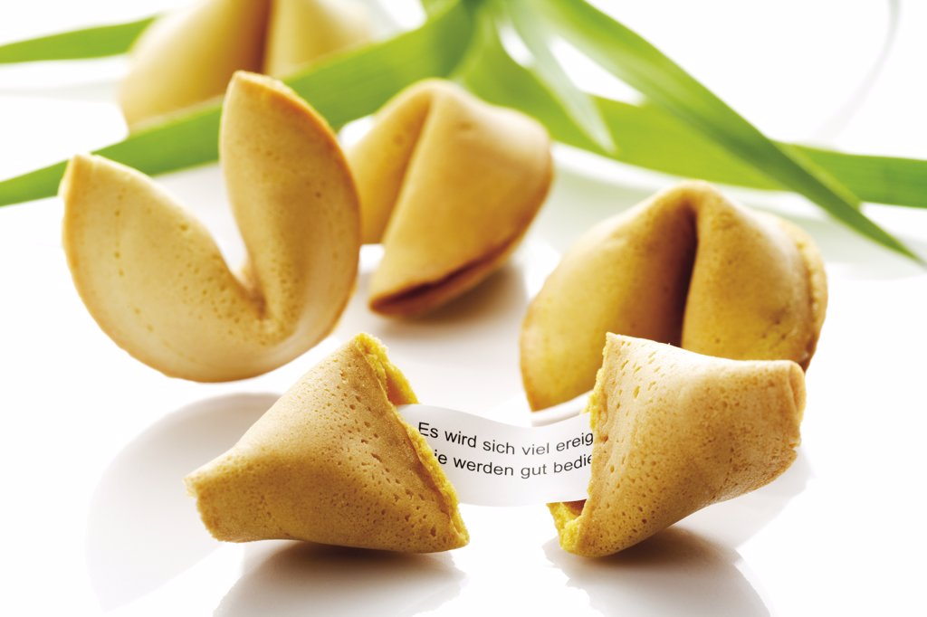Stock Photo: 1815R-16046 Fortune cookies, close-up