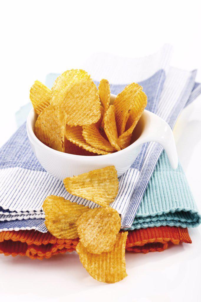 Potato chili chips : Stock Photo