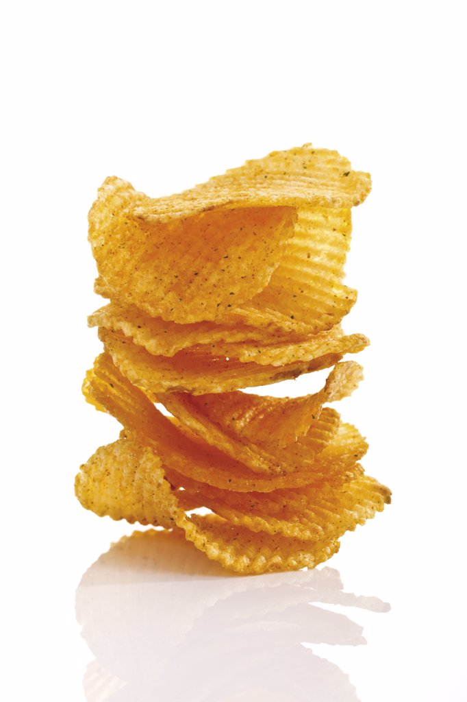 Stack of Potato chili chips, close-up : Stock Photo