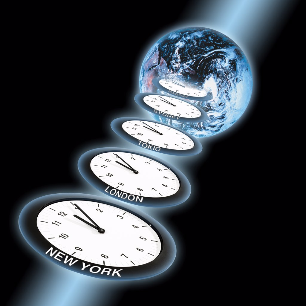 Stock Photo: 1815R-21520 Clocks showing five past twelve in front of world