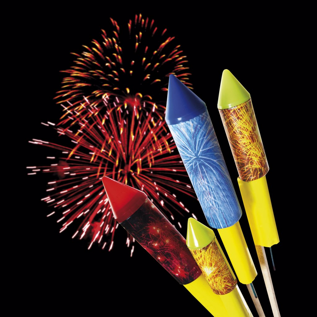 Stock Photo: 1815R-21720 Firework and rockets, close-up