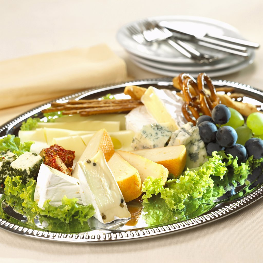 Various cheese on plate : Stock Photo