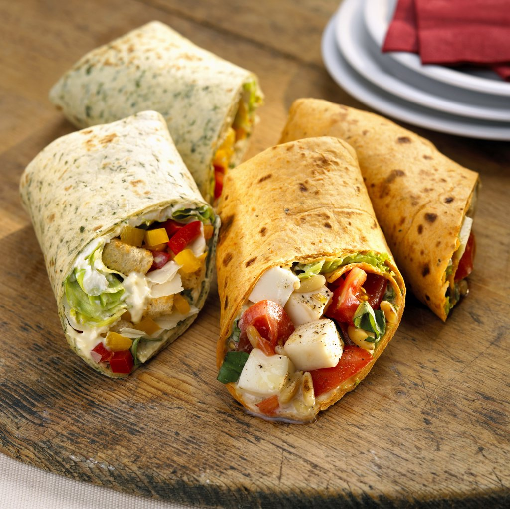 Wraps, filled with vegetables : Stock Photo