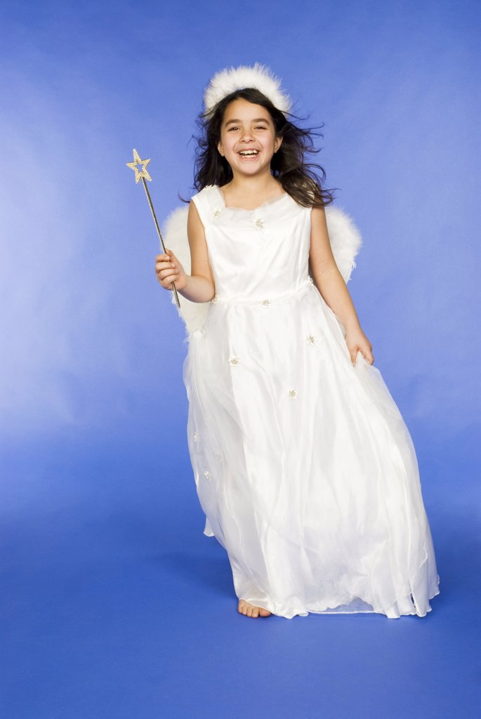 Girl dressed as angel, portrait : Stock Photo