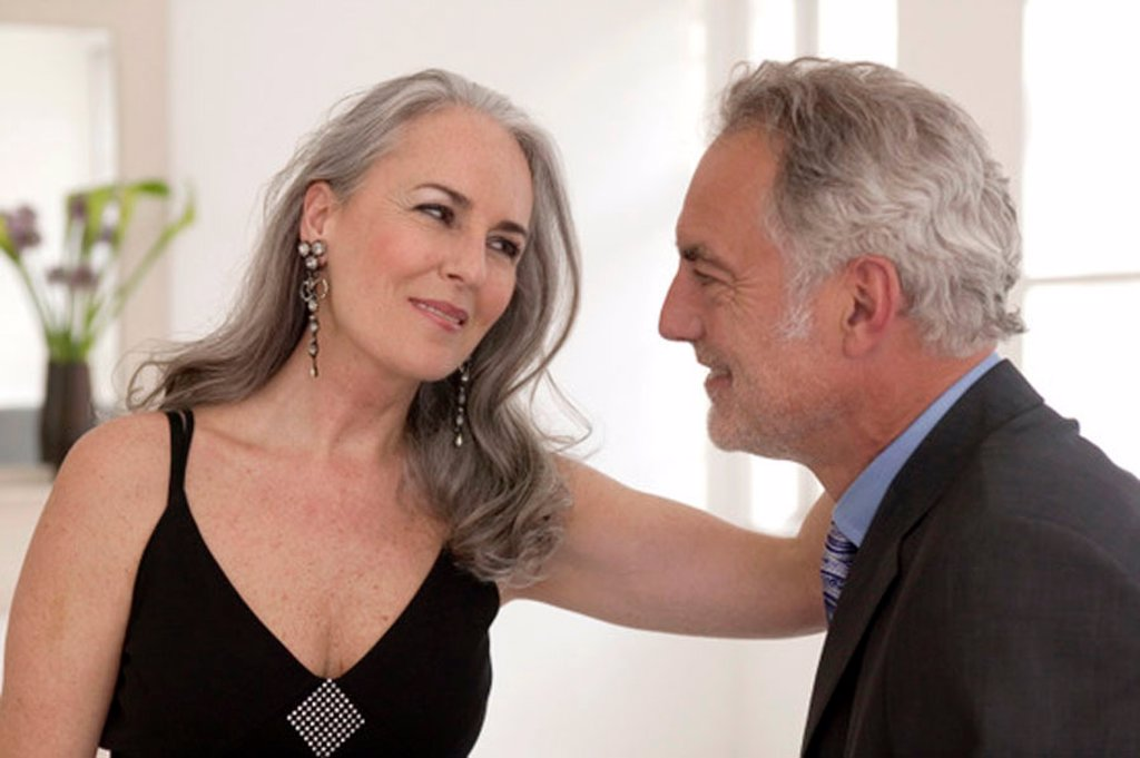 Stock Photo: 1815R-25929 Mature couple looking at each other, smiling