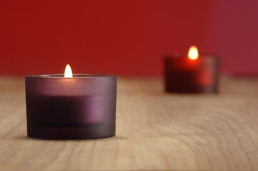 Burning candles, Christmas decoration : Stock Photo