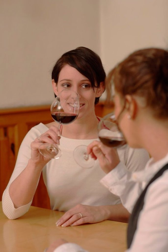 Stock Photo: 1815R-27635 Two women testing wine