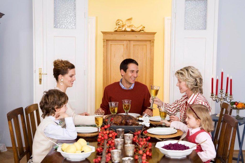 Family having Christmas dinner : Stock Photo