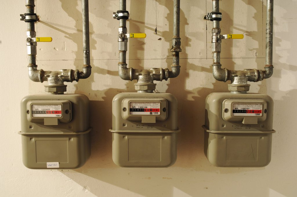 Three gas meters : Stock Photo