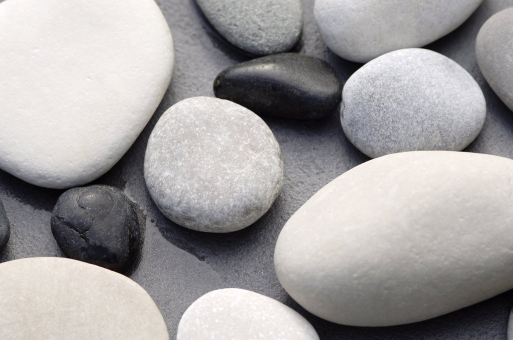 Pebbles, close-up, elevated view : Stock Photo