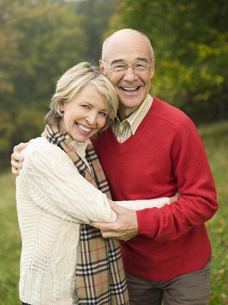 Stock Photo: 1815R-29754 Germany, Baden-Württemberg, Swabian mountains, Senior couple, portrait, smiling