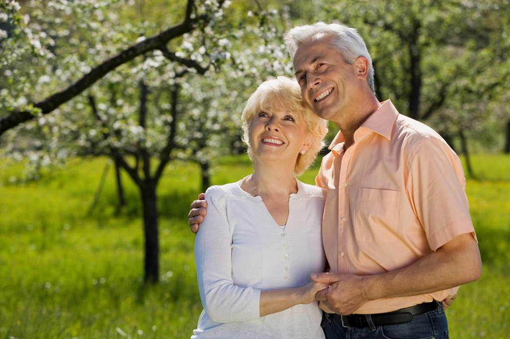 Germany, Baden Württemberg, Tübingen, Senior couple, smiling, portrait : Stock Photo
