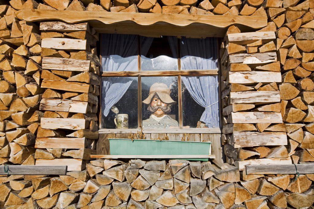 Stock Photo: 1815R-34973 Germany, Bavaria, Man figurine standing in window, full frame