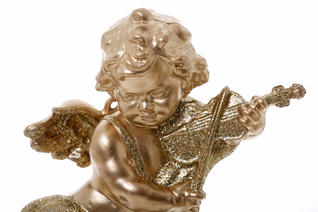 Stock Photo: 1815R-36085 Golden putto playing the violin, close up