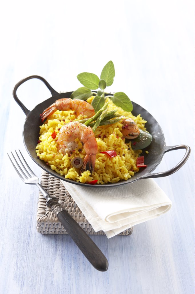 Stock Photo: 1815R-36643 Seafood paella, elevated view