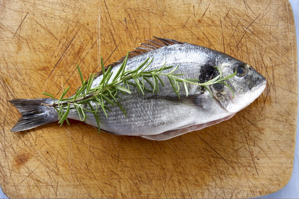 Raw Gilthead seabream and rosemary twig on chopping board, elevated view : Stock Photo