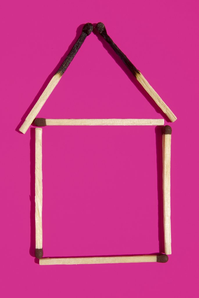 Stock Photo: 1815R-36840 Matchstick house, elevated view