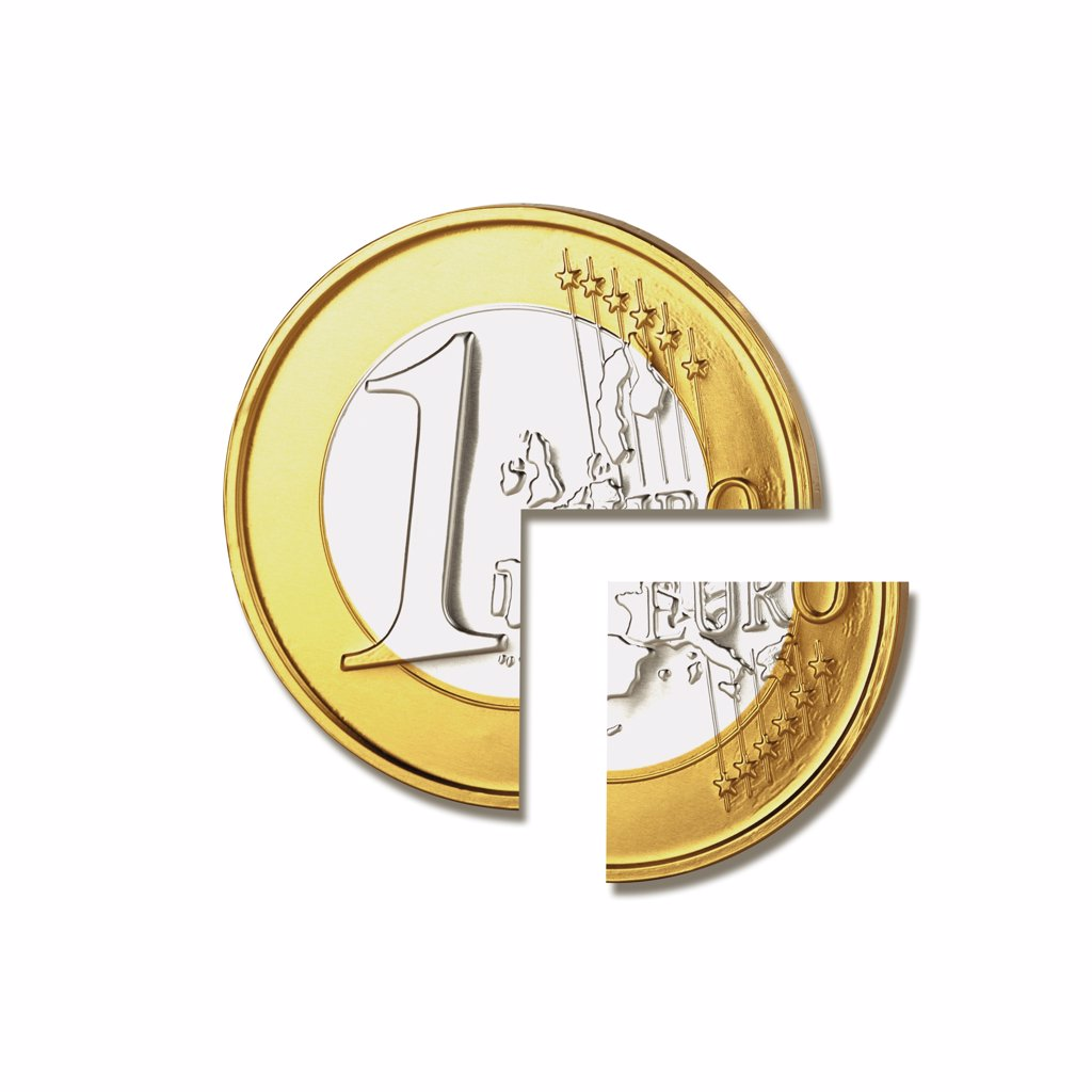Stock Photo: 1815R-45246 Euro coin, Withholding tax