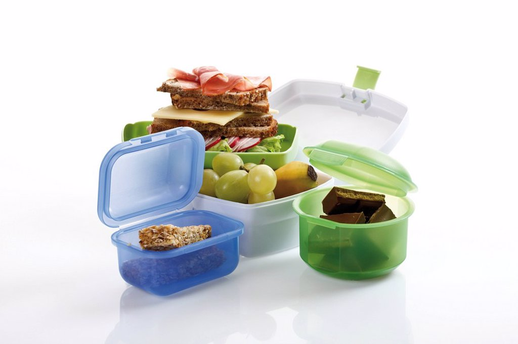 Lunchboxes with food : Stock Photo