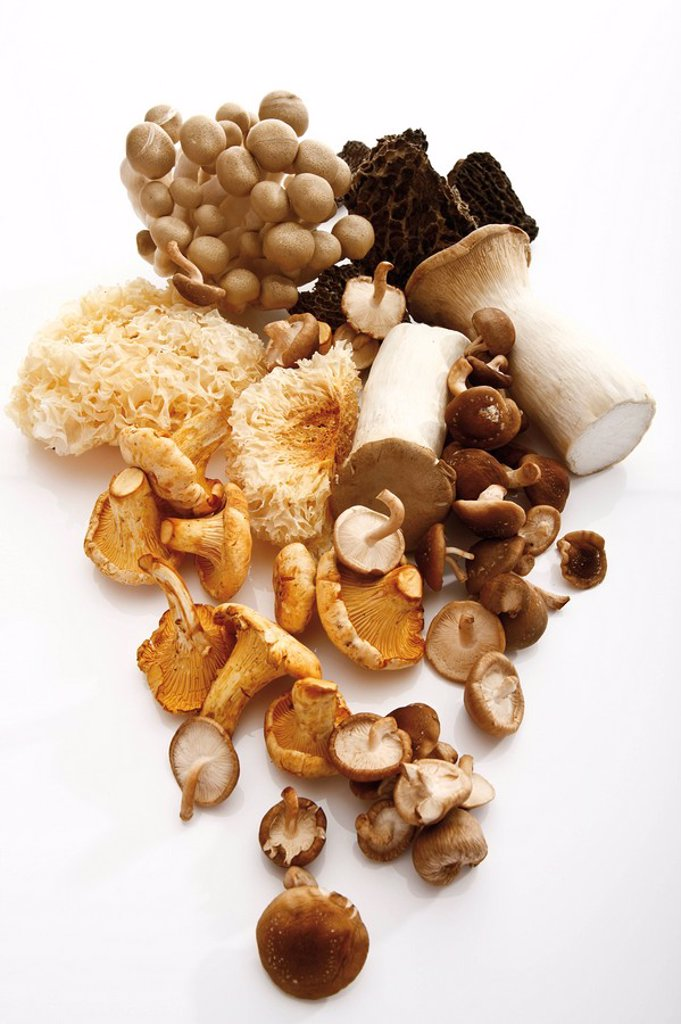 Assorted mushrooms, elevated view : Stock Photo