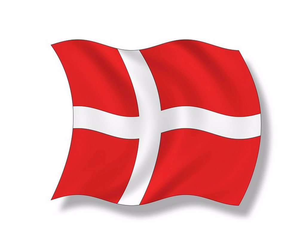 Illustration, Flag of Denmark : Stock Photo