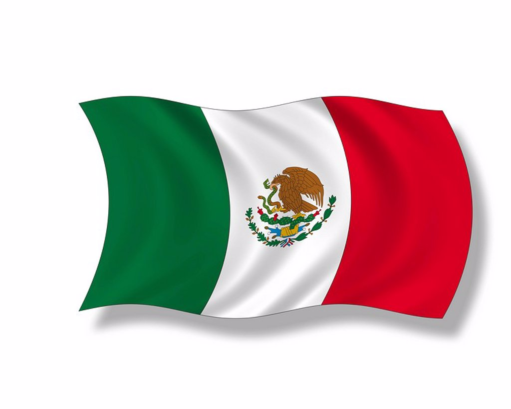 Illustration, Flag of Mexico : Stock Photo