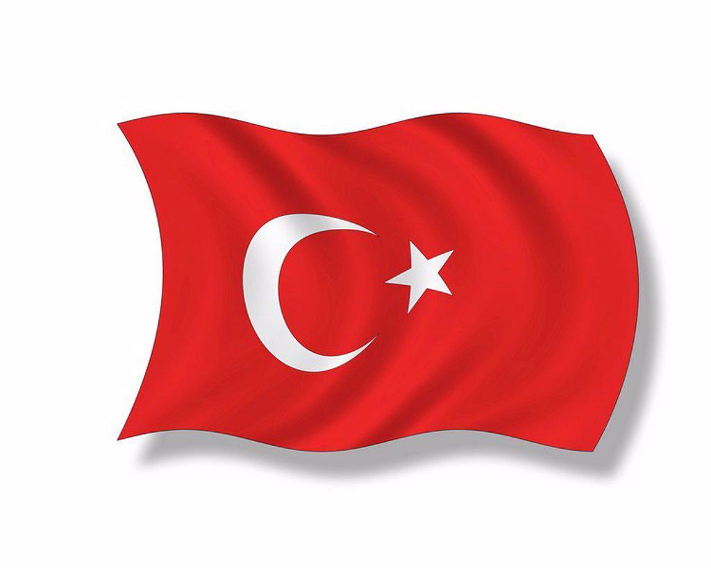 Illustration, Flag of Turkey : Stock Photo
