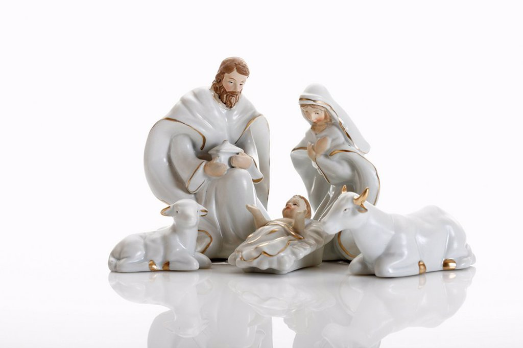 Christmas decoration, nativity scene, crib figurines : Stock Photo