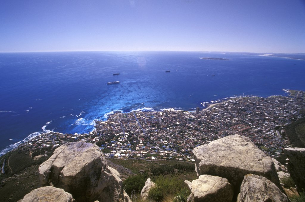 Clifton Bay, Bantry Bay, Robben Island and Sea Point seen from Lions Head, Capetown, Western Cape, South Africa : Stock Photo