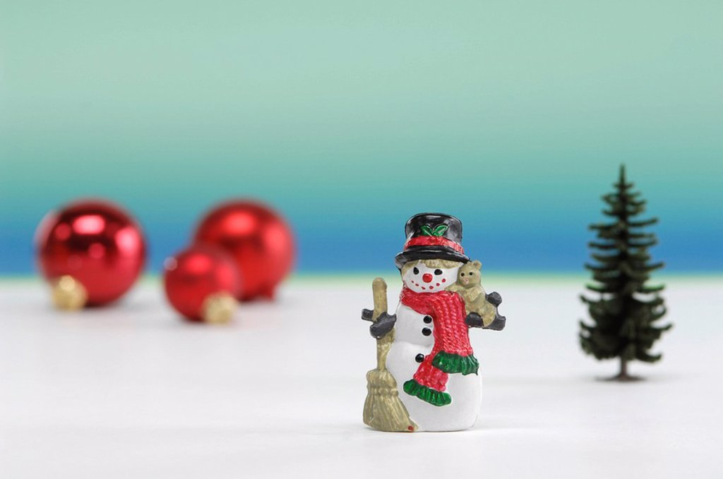 Christmas decoration, Snowman, christmas tree and christmas baubles : Stock Photo