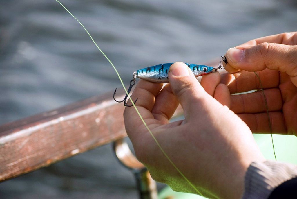 Stock Photo: 1815R-53649 Man´s hand fixing bait on hook, elevated view