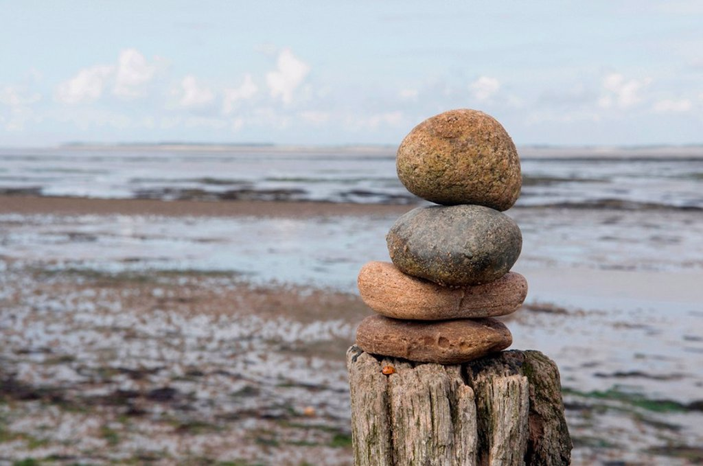 Stock Photo: 1815R-53832 Germany, Schleswig Holstein, Amrum, Pile of stones on tree trunk