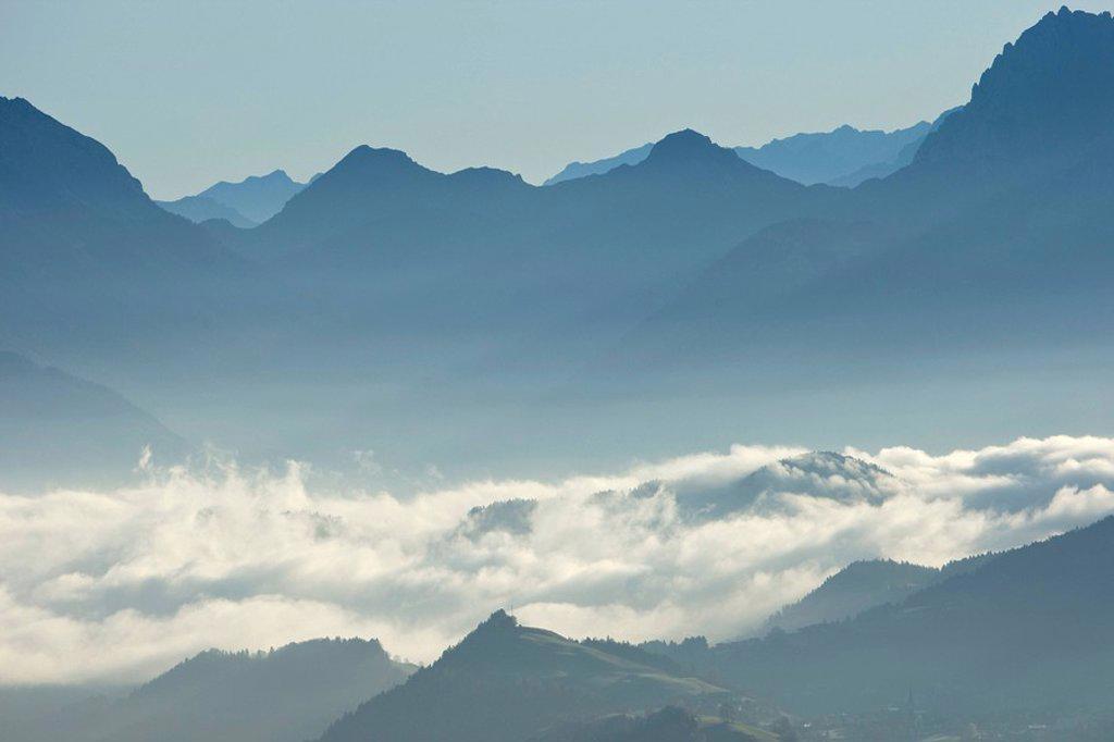 Austria, Tyrol, Lake Thiersee, Mountain scenery : Stock Photo