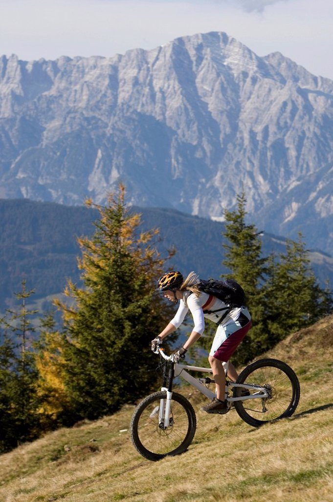 Stock Photo: 1815R-54695 Austria, Salzburger Land, Zell am See, Woman mountain biking