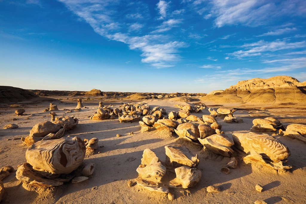 Stock Photo: 1815R-55438 USA, New Mexico, Bisti Wilderness Area, Cracked Egg Factory
