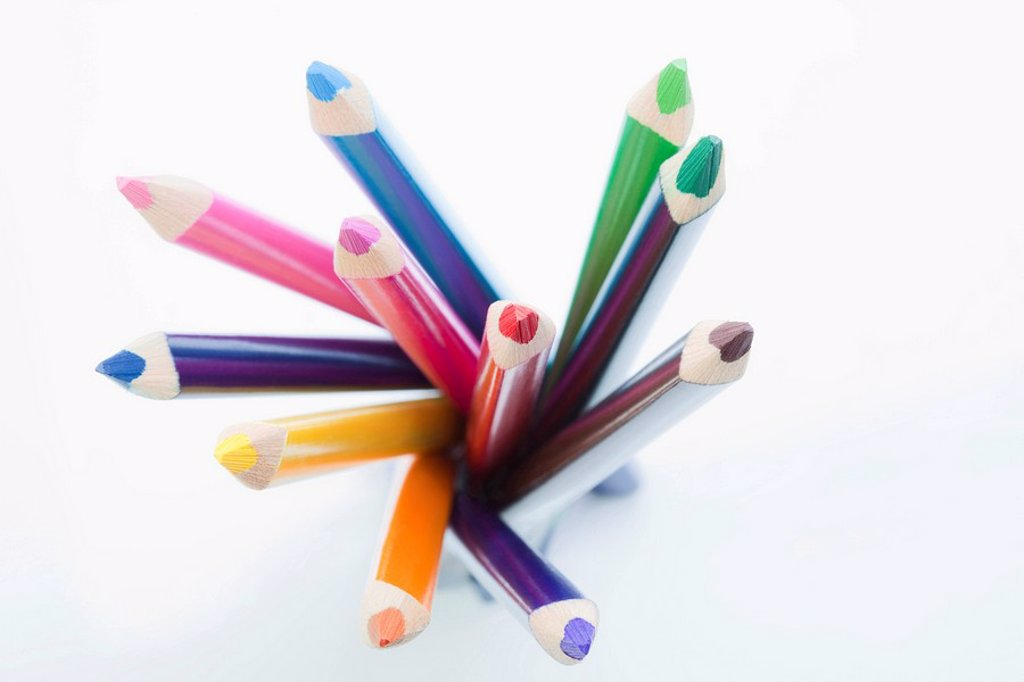 Colored pencils, elevated view : Stock Photo