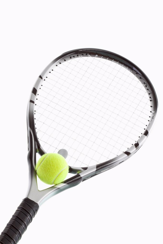Stock Photo: 1815R-58595 Tennis ball on racket, close_up