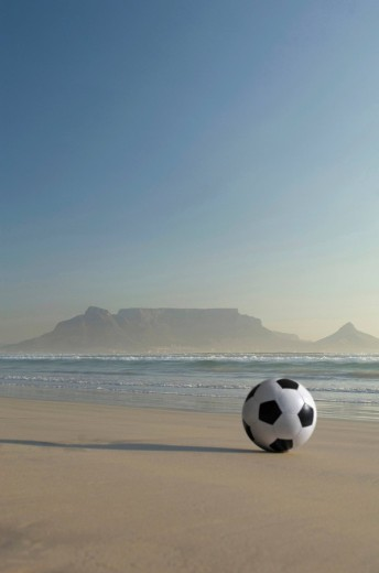 Africa, South Africa, Kapstadt, Soccer ball on beach : Stock Photo