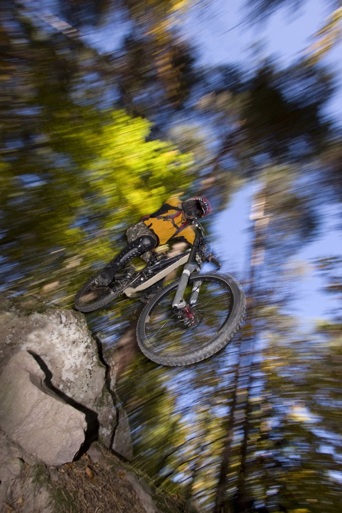 Italy, Southern Tyrol, man mountain biking : Stock Photo