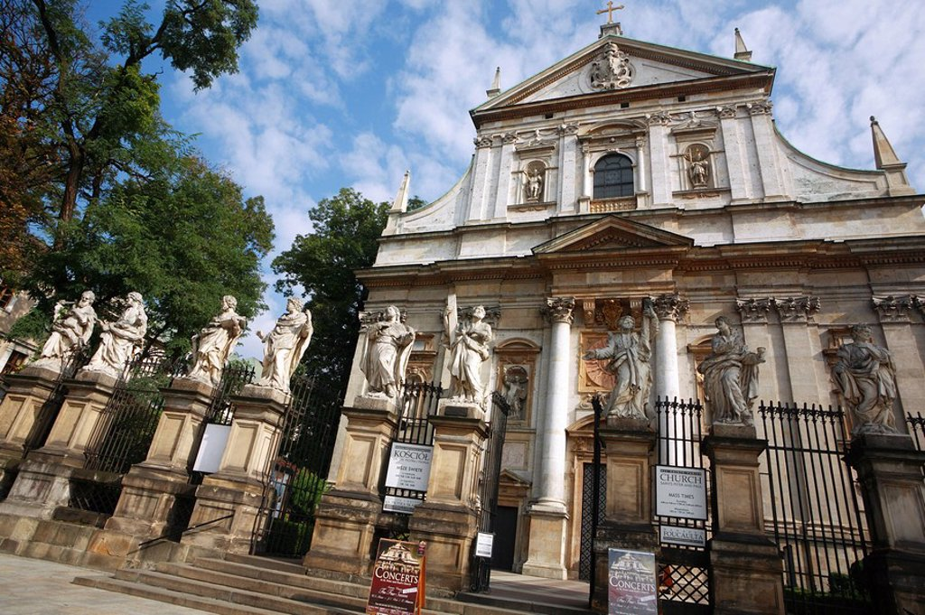 Stock Photo: 1815R-60055 Poland, Cracow, Church of St Peter & St Paul facade