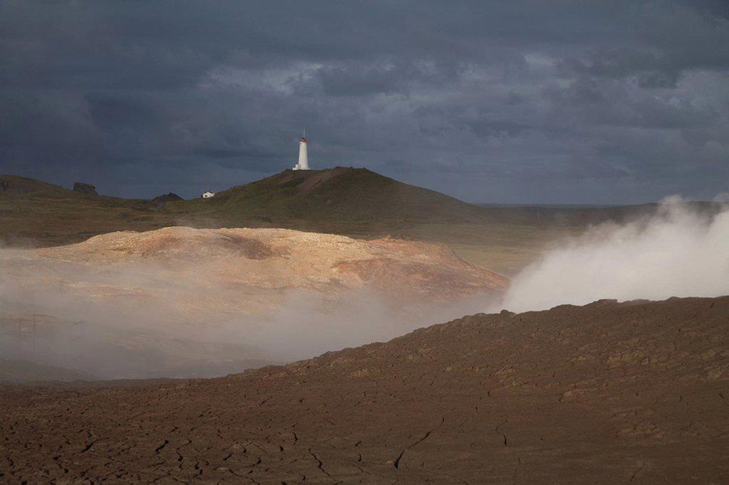 Iceland, Reykjanes peninsula, Lighthouse : Stock Photo