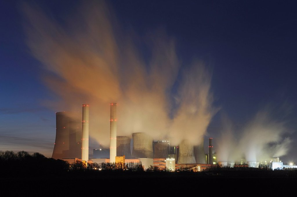Germany, Niederauen, Coal fired power station : Stock Photo