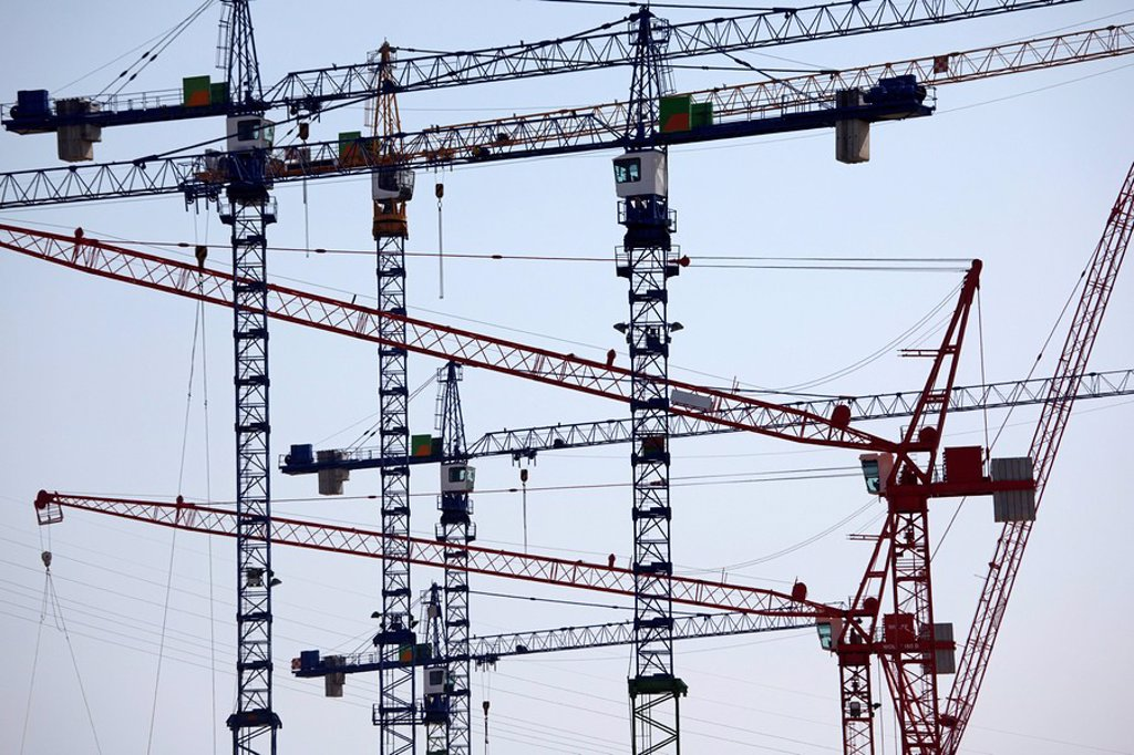 Stock Photo: 1815R-62104 Germany, Hamburg, Construction Cranes