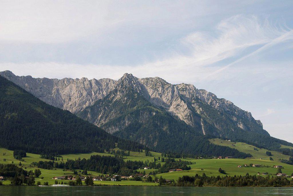 Austria, Tyrol, Walchsee, Zahmer Kaiser, mountain scenery : Stock Photo