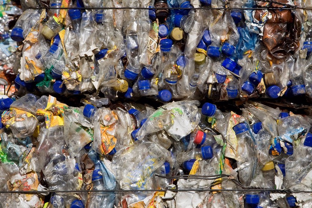 Stock Photo: 1815R-62442 Landfill site, Plastic waste, full frame
